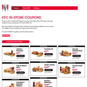 KFC NZ In Store Coupons