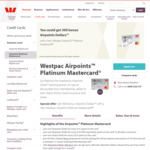 Westpac Airpoints Platinum Mastercard: 300 Airpoints, Travel Insurance, 1 Airpoint Per $75 Spend (Annual Fee $145)