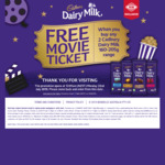 Free Movie Ticket When You Buy 2 Cadbury Dairy Milk 160 -205g Range @ New World