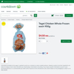 Tegel Chicken Whole Frozen Each 950g $4.50 (Was $6) @ Countdown