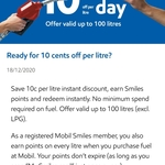 $0.10 off Fuel (Except LPG) at Mobil