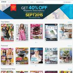 40% Off Full-Priced eMagazine Subscriptions @ Zinio