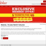 5 Tickets for $45 @ Event Cinemas (Westcity and St. Lukes)
