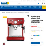 Breville The Infuser Red Coffee Machine $299 (Was $899) @ Briscoes