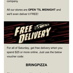 Free Delivery (Min Spend $25) @ Hell Pizza