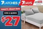 1000TC King & Queen Size Bed Sheet Sets $27 + Shipping @Catch NZ
