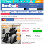 Full Body Massager Electric Massage Chair Zero Gravity $899.97 (Was $2,499.95) + Delivery @ Best Deals