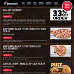 33% off Traditional/Gourmet Pizzas & Most Sides | New Yorker Pizzas $9.99ea Pickup / $14.99ea Delivered @ Domino's