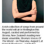 Win 1 of 2 Double Passes to Stroma's Voices of The World from The Dominion Post (Wellington)