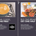 Buy a Coffee, Get 1 Free or Buy a Breakfast, Get 1 Half Price @ The Coffee Club