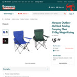 Camping Chair 110kg $4.50 at Bunnings Warehouse