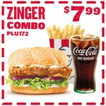 Zinger Combo: Zinger Burger, Fries and Drink $7.99 (Before 4PM) @ KFC (In Store)