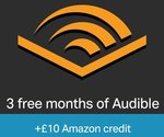 Free £10 Amazon Credit When You Sign up for a free 3 Month Audible Trial (New Audible Customers Only) (Prime Only)
