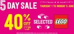 40% off Selected Lego Instore Only @ Paper Plus
