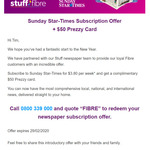 Sunday Star-Times Subscription Offer $3.80 Per Week + Bonus $50 Prezzy Card (6 Months Minimum)