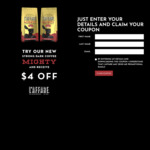 $4 off Voucher L'affare 200g Coffee Beans and Ground Coffee @ L'affare
