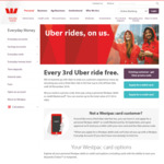 Every 3rd Uber Ride Free (up to $30) When Using a Westpac Mastercard to Pay