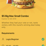 $5 Big Mac Small Combo @ McDonald's