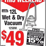 Ozito 1250W 12L Wet and Dry Vacuum $49 (Was $75) @ Bunnings