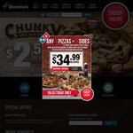 Any 3 Pizzas $24 Delivered @ Domino's