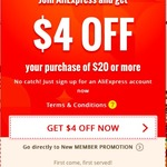 $4 Off Any Order $20 and Over (New Accounts Only) @ AliExpress