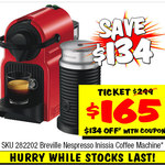 Breville Nespresso Inissia Coffee Machine - $165 Was $299 @ JB Hifi