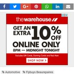 Further 10% off Everything Tonight Only @ The Warehouse