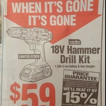 Ozito 18V Hammer Drill Kit 1.5ah Li-Ion $59 @ Bunnings