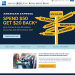 AmEx - Spend $50 and Get $20 Statement Credits (up to 3 Times) [E.g. Briscoes, Harvey Norman, The Warehouse, Mighty Ape, etc.]