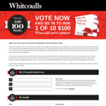 Win 1 of 10 $100 Gift Cards from Whitcoulls