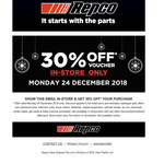Repco 30% off (in-Store Only)