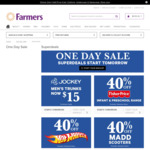 One Day Sale @Farmers 50% off Kids Clothing, 40% off Fisher Price, 40% off Hot Wheels