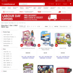 Buy 1, Get 1 Half Price Toys Including Clearance Items @ The Warehouse