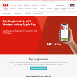 Free $10 for You, and $10 for Charity When You Use Westpac Apple Pay Five Times before 2nd May 2019