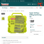 Ryobi 130 Piece Drilling And Driving Set  $20 at Bunnings Warehouse