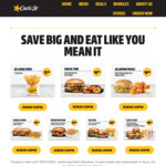 $2 Large Fries, Cheeseburger & Onion Rings for $6.50, Value Chicken Burger & Jalapeno Bites for $9 & more @ Carl's Jr