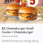 $5 Cheeseburger Small Combo + Cheeseburger @ McDonald's via App