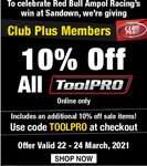 10% off all ToolPRO at Supercheap Auto, ONLINE and ClubPlus Members only