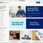 Spend $50 Get $10 off @ 98 Participating eBay Retailers (PB Tech, Mighty Ape, Fishpond, SurfStitch, TradeTested Bonds + More)