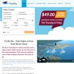 Fly between Auckland and Great Barrier Island $49 (One-Way) this Thursday and Friday