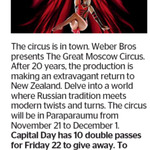 Win 1 of 10 Double Passes to The Great Moscow Circus from The Dominion Post (Wellington)