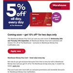 10% off @ The Warehouse with Warehouse Money Visa