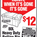Ezy Storage Solutions Heavy Duty 80L Rolling Bin $12 @ Bunnings