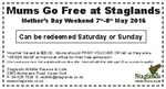 [WLG] Free Entry for Mum's Stagland Mothers Day Weekend (with Paying Child under 15 Years Old)