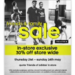 Adidas NZ 30% off Storewide 21st - 24th May (in Store)
