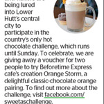 Win Beforetime Express Cafe's Orange Storm from The Dominion Post (Wellington)