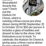 Win Dinner for 2 at Hudson on Chews (Worth $100) from The Dominion Post (Wellington)