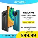 Cubot Note 20 Pro Camera Quad Smartphone 6GB + 128GB Helio P60 Smartphone US$99.99 (NZ$155.89) Shipped @ Cubot via Aliexpress