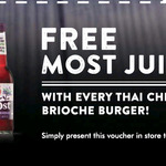 Free Most Juice (Normally $5.50) with Every Thai Chicken Brioche Burger Purchase @ The Coffee Club