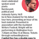 Win a Double Pass to see Luke Wright from The Dominion Post (Wellington)